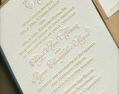 Letterpress Wedding Invitations  with Hand Calligraphy Monogram DEPOSIT