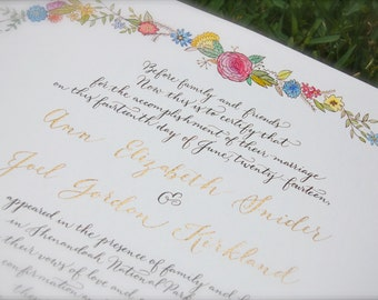 Wedding Guest Book Alternative, Custom Marriage Certificate, Watercolor and Calligraphy Floral DEPOSIT