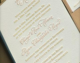 Letterpress Wedding Invitations  with Hand Calligraphy Monogram DEPOSIT
