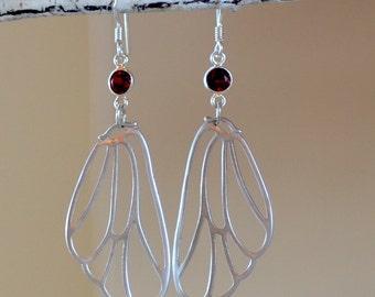 Butterfly Wings Earrings.  Garnet Sterling Silver Earrings. Mixed Metal Earrings. Red Garnet Butterfly Dangles. Boho Earrings.