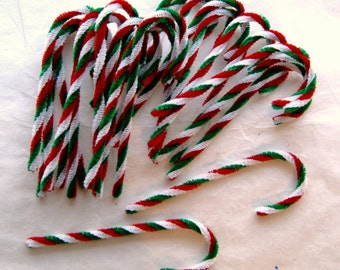 24 Christmas Candy Canes, Red  White Green CHENILLE Candy Canes Vintage Style Ornaments  (CCM-1)