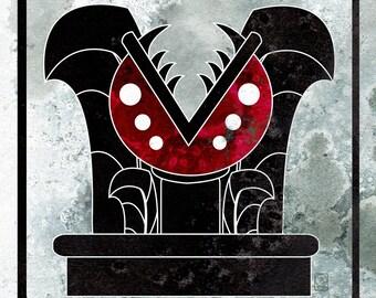 Piranha Plant Monster Glyph - Inspired Mario Monster Illustration