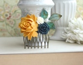 Yellow Rose Comb, Yellow and Navy Dark Blue Comb, Blue Bridal Hair Comb, Yellow Blue Wedding. Yellow Green Rustic Wedding, Bridesmaids Gift