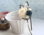 Ivory Rose, Navy Blue, Rhinestone, Leaf, Flower Hair Band. Bridesmaid Gift, Blue Ivory Wedding. Something Blue, Rustic Wedding Hair Piece