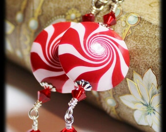 Candy Cane... Handmade Beaded Jewelry Earrings Christmas Holiday Polymer Clay Red White Silver Swirl Spiral Crystal Lightweight Peppermint