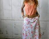 Vintage Floral Print Sleeveless Maxi Dress~Dress with Pocket~Long Dress~Vintage Dress~Retro Dress~Summer Dress~Romantic Dress~Pink Dress~Eco