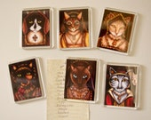Tudor Cat Magnets, Set of 6 King Henry VIII Wives as Cats Fridge Magnets