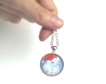 christmas pendant necklace snowman