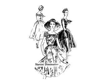 1950s Spadea Dress Pattern A2080, Martini Diminutive Full Skirt Scoop Neck Dress, Draped Bow, Bust 36 1/2 Uncut Vintage Sewing Patterns