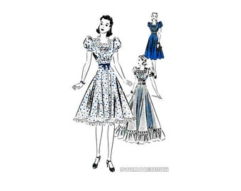 30s Frock Dress Pattern Hollywood 1805, Day & Evening Length, Full Skirt, Puff Sleeves, Ruffle Trim, Vintage Wedding Gown or Dance Dress