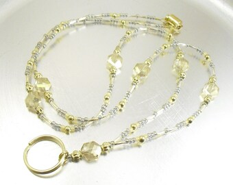 Faceted Champagne Hexagon Czech Glass Beaded ID Lanyard, Badge Holder, ID Badge Necklace