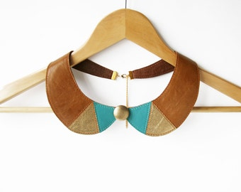 Bib Necklace Brown Turquoise Leather Collar Necklace Peter Pan Detachable Collar Metallic Triangles