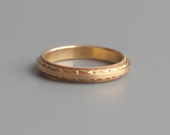 Art Deco Gold Ring. Geometric Top & Bottom.  Wedding Band. Stacking. Brushed Satiny Center.