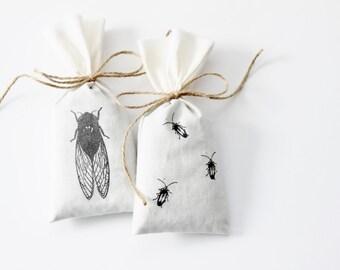 Shoe Deodorizer Lavender Sachet Bags, Cicada & Lightning Bugs / Firefly, Nature Inspired Gift for Women