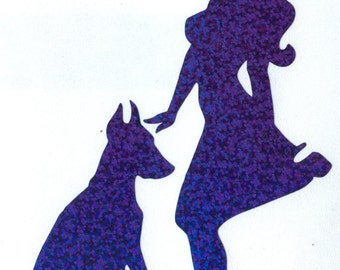 Doberman and Pin Up Silhouette, Blue Glitter Vinyl Decal