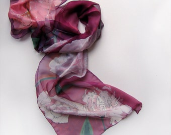 Hand Painted Silk Scarf- Burgundy Peonies/ Floral Silk Chiffon Scarf/ Shawl Painted/ Purple scarf Ethereal multicolored scarf, Birthday gift