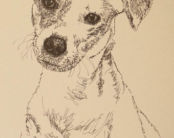 Jack Russell Terrier Smooth - Artist Kline draws his dog art using only words. Signed 11x17 Lithograph 35/500 - Your Dogs Name added Free