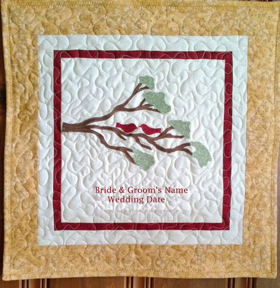 Personalized wedding wall hanging quilt or anniversary