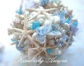 Beach Wedding Shell Bridal Bouquet and Party Package  (Simple  Powder Blue Platinum Pencil Starfish Style). Made to Order Custom Details.