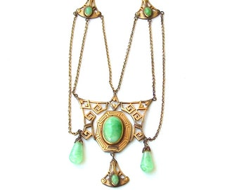 RESERVED Antique Festoon Necklace Jade Green Peking Glass Stone Art Deco Dangle Fringe Drop Antique Jewelry