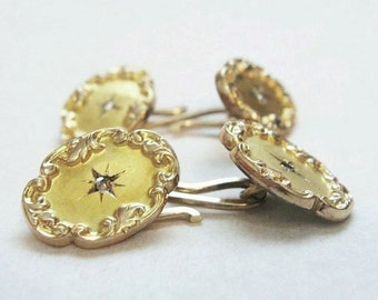 Antique Victorian / Edwardian Diamond Cufflinks - Rose Cut Diamonds - 10KT - 12KT Gold - Antique Jewelry