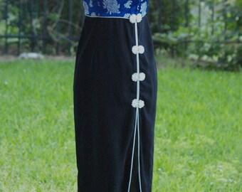 Blue Cheongsam Dress - Chrysanthemum Floral Brocade with Black Skirt