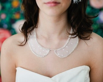 Rhinestone and lace Collar peter pan collar necklace