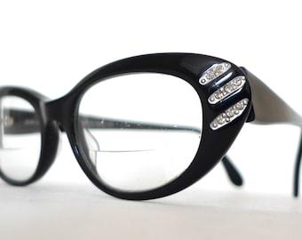 Designer Rhinestone Cat Eye Frames / France / Rare Vintage Eyeglasses / Black Sunglasses on sale