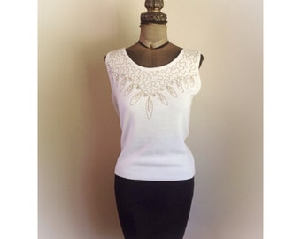 Vintage 1960s Colleen Knitwear Sleeveless Blouse Top with Faux Pearls and Rhinestones