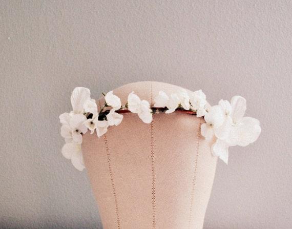 Ethereal White Wedding Hair Crown, Bridal Flower Crown, Woodland Wedding Leaf Crown