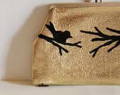 Early Bird - VINTAGE gold CHANGE PURSE with hand painted bird on branch