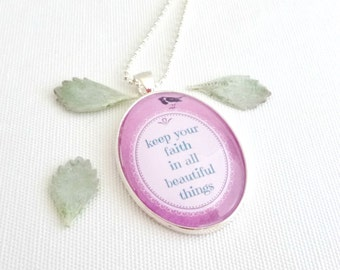 faith quote necklace, inspirational quote faith necklace, womens quote necklace, Christian jewelry, pink pendant