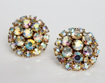 1950s Bold Rhinestone Clip on Earrings