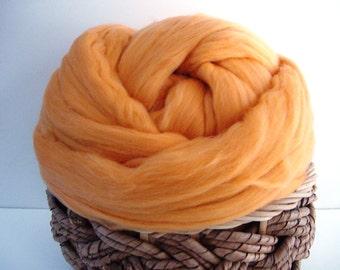 Merino Wool Roving, Peach, 4 ounces