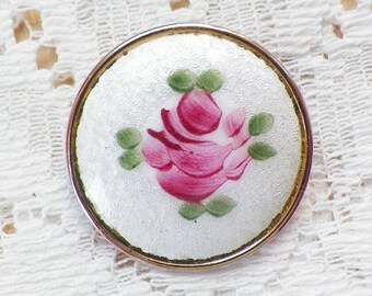 Vintage Round White Guilloche / Enamel Pin / Broach / Brooch with Pink Rose with Green Leaves