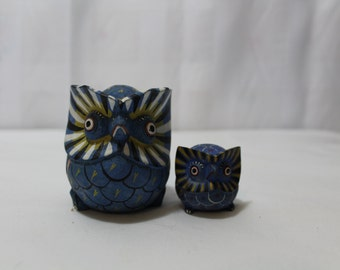 Set of 2 Tribal Hand Painted Wooden Owls, Blue
