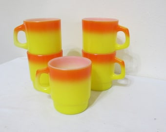 Fire King Mugs Set of 5 Anchor Hocking Candy Corn Color