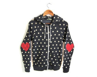 Heart on My Sleeve - Hand STENCILED Eco Heather Elbow Patch Zip Hoodie Sweatshirt in Black and White Polkadot - Women's S M L XL