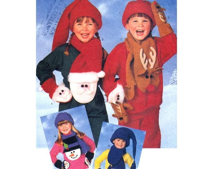 Kids Accessory Pattern Butterick 4664 Scarf Hats Mittens Santa Snowman Elf Reindeer