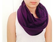 Purple Amethys Infinty Circle Loop Scarf  Combed Cotton Fabric