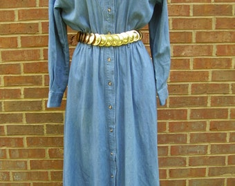 Vintage I.C. Shirt Dress Cotton Denim Size Medium Southwest Gold and Silver Beading Long Sleeve