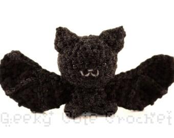 Silver Haired Bat Amigurumi Black Bat Crocheted Toy