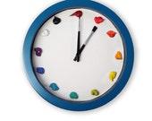 Unique Wall Clock, Canvas, 3D paint daubs brushes - CUSTOMIZABLE - Artist clock for art studio, nursery, playroom decor or painter gift