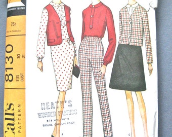 Vintage McCall's 8130 1960s Vintage Coordinating Separates Sewing Pattern  Bust 31 inches