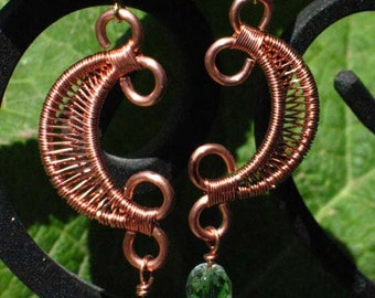 ON SALE!~Copper Wire Weaved Crescent Moon Earrings with green crystal for Pierced Ears