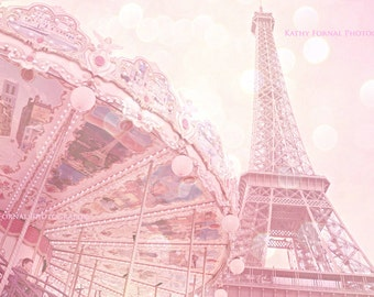Pink Paris Eiffel Tower Photography, Eiffel Tower Carousel, Baby Girl Nursery, Eiffel Tower Carousel Print, Eiffel Tower Baby Girl Nursery
