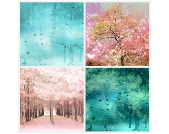 Pink and Teal Nature Prints, Baby Girl Nursery Decor, Dreamy Aqua Pink Teal Tree Art, Fairy Lights Nature, Set of 4 Pink Teal Nature Prints