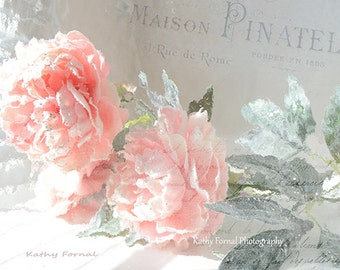 Shabby Chic Floral Print, Dreamy Peach Roses Print, Still Life Roses Wall Decor, Peachy Pink Roses, Impressionistic Roses Floral Photography