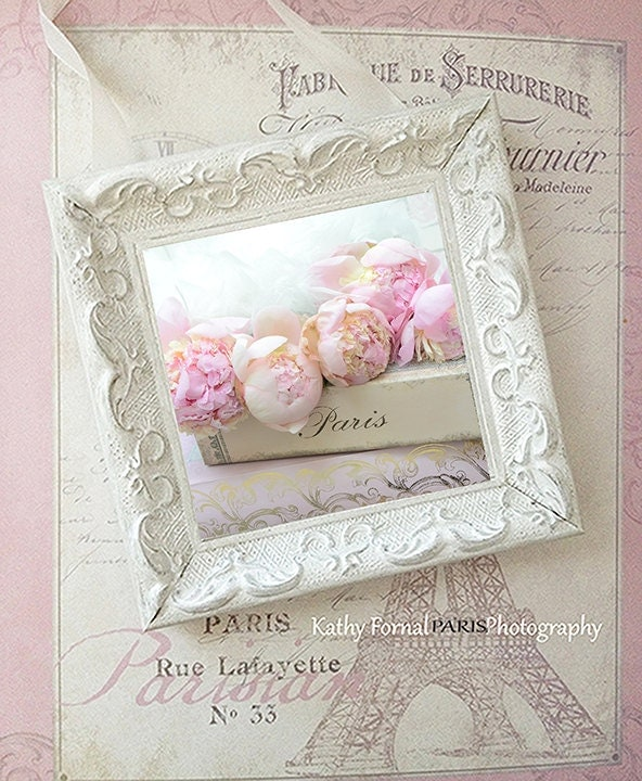 Paris peonies shabby chic decor peonies photo framed art for Shabby chic wall art