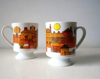 Mid Century modern Danish Design Mug Set - Little Houses Orange City